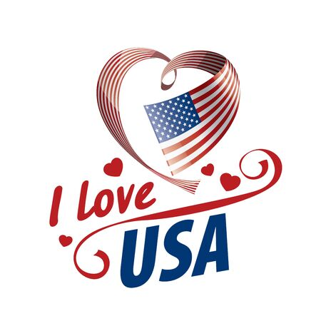 The national flag of the USA and the inscription I love the USA. Vector illustration.