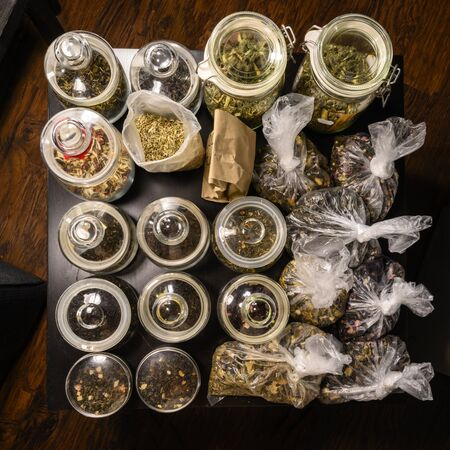 Set of teas in glass jars and bags Stock Photo