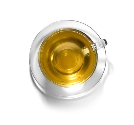 Tea in a glass Cup on a white background