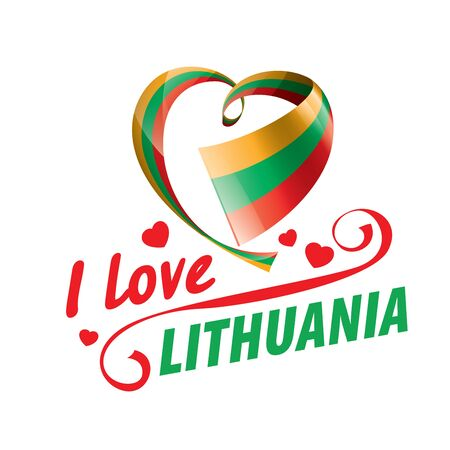The national flag of the Lithuania and the inscription I love Lithuania. Vector illustration