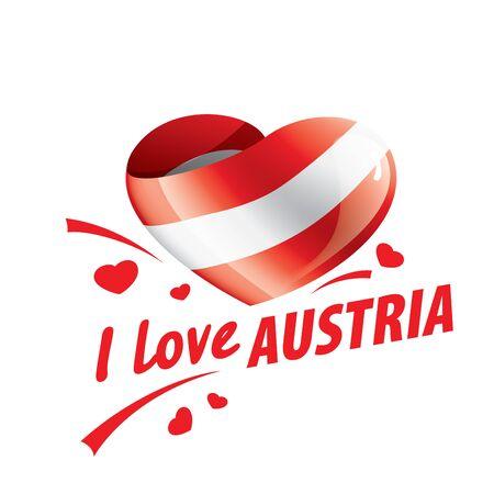 The national flag of the Austria and the inscription I love Austria. Vector illustration