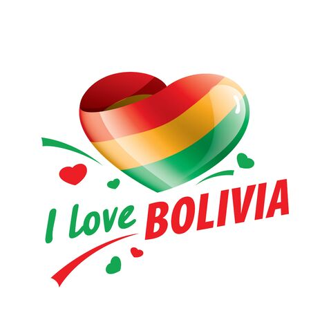 The national flag of the Bolivia and the inscription I love Bolivia. Vector illustration