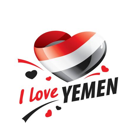 The national flag of the Yemen and the inscription I love Yemen. Vector illustration