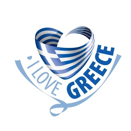 The national flag of the Greece and the inscription I love Greece. Vector illustration