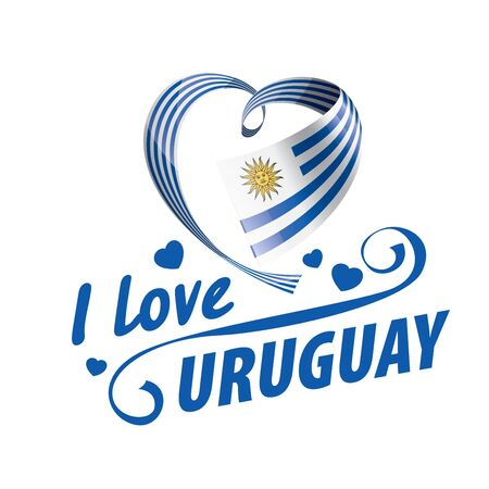 The national flag of the Uruguay and the inscription I love Uruguay. Vector illustration  イラスト・ベクター素材