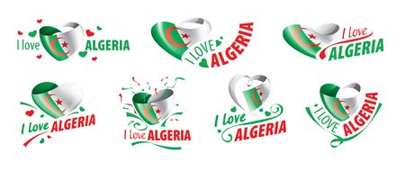 The national flag of the Algeria and the inscription I love Algeria. Vector illustration