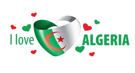 The national flag of the Algeria and the inscription I love Algeria. Vector illustration. Illustration