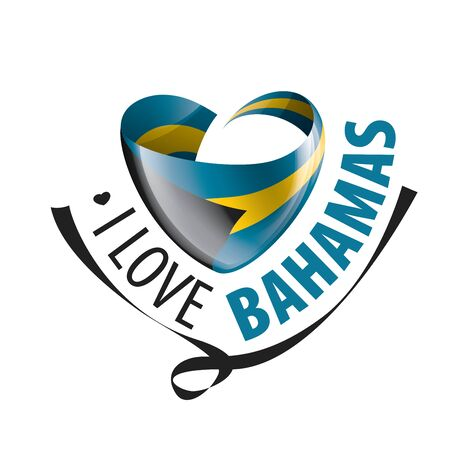 National flag of the Bahamas in the shape of a heart and the inscription I love Bahamas. Vector illustration 矢量图像
