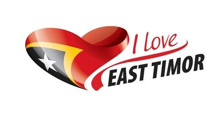 National flag of the East Timor in the shape of a heart and the inscription I love East Timor. Vector illustration.