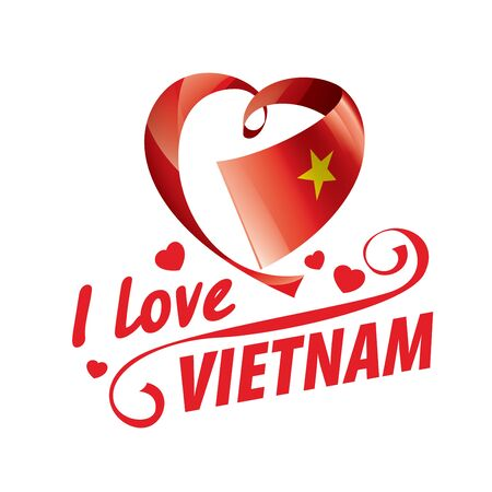 National flag of the Vietnam in the shape of a heart and the inscription I love Vietnam. Vector illustration