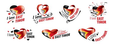 National flag of the East Timor in the shape of a heart and the inscription I love East Timor. Vector illustration