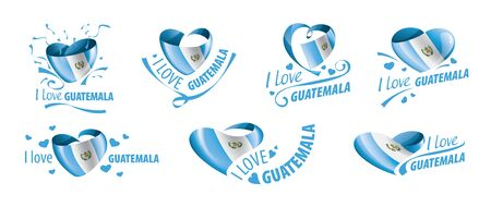 National flag of the Guatemala in the shape of a heart and the inscription I love Guatemala. Vector illustration.