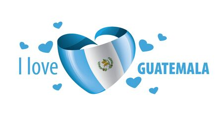 National flag of the Guatemala in the shape of a heart and the inscription I love Guatemala. Vector illustration