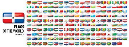 Flagi narodowe krajów. Ilustracja wektorowa na białym tle