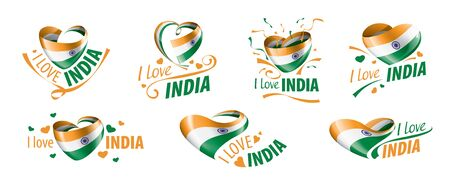 National flag of the India in the shape of a heart and the inscription I love India. Vector illustration