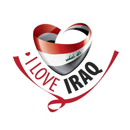 National flag of the Iraq in the shape of a heart and the inscription I love Iraq. Vector illustration