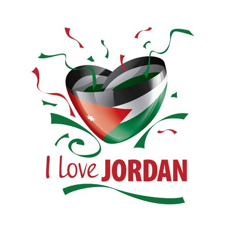 National flag of the Jordan in the shape of a heart and the inscription I love Jordan. Vector illustration Vettoriali