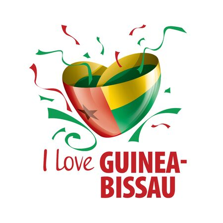 National flag of the Guinea Bissau in the shape of a heart and the inscription I love Guinea Bissau. Vector illustration 向量圖像