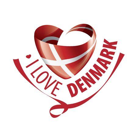 National flag of the Denmark in the shape of a heart and the inscription I love Denmark. Vector illustration