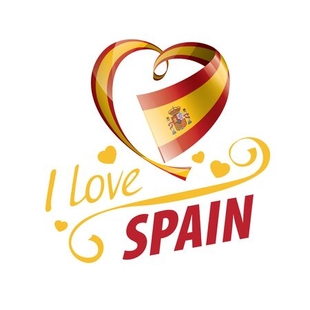 National flag of the Spain in the shape of a heart and the inscription I love Spain. Vector illustration