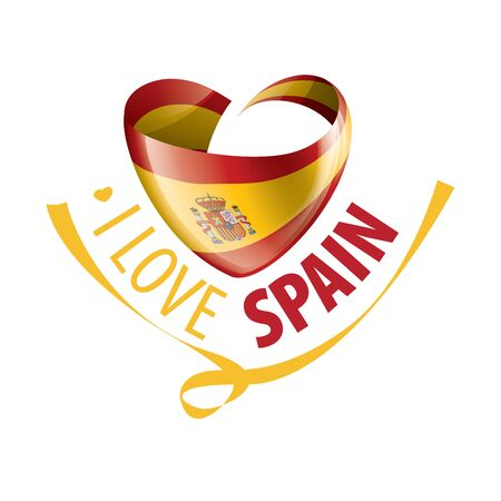 National flag of the Spain in the shape of a heart and the inscription I love Spain. Vector illustration. 向量圖像