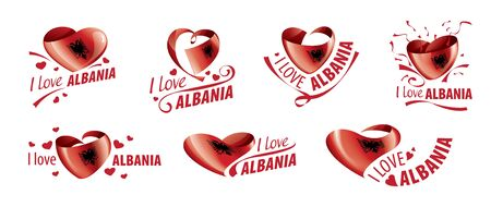 National flag of the Albania in the shape of a heart and the inscription I love Albania. Vector illustration