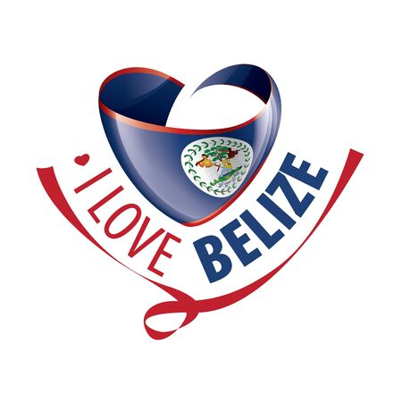 National flag of the Belize in the shape of a heart and the inscription I love Belize. Vector illustration