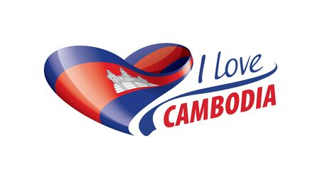 National flag of the Cambodia in the shape of a heart and the inscription I love Cambodia. Vector illustration
