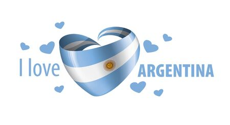 National flag of the Argentina in the shape of a heart and the inscription I love Argentina. Vector illustration