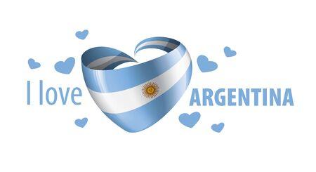 Nationalflagge Argentiniens in Form eines Herzens und der Aufschrift Ich liebe Argentinien. Vektor-Illustration