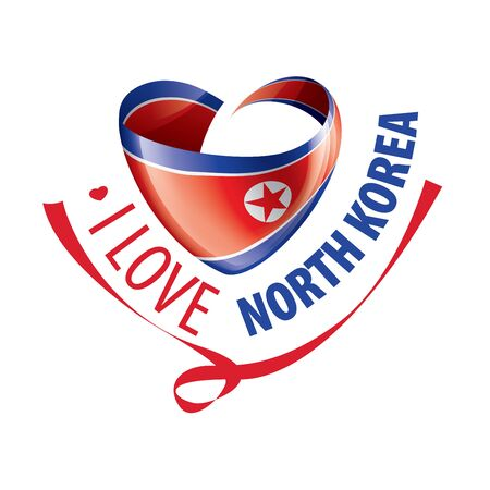 National flag of the North Korea in the shape of a heart and the inscription I love North Korea. Vector illustration