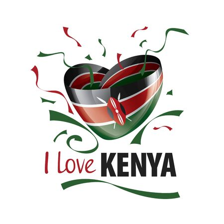 National flag of the Kenya in the shape of a heart and the inscription I love Kenya. Vector illustration