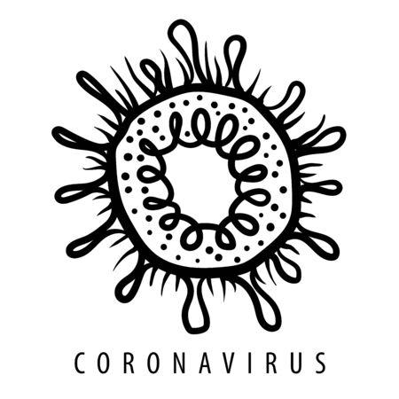 Vektorillustration eines Coronavirus auf weißem Hintergrund