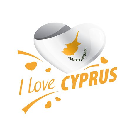 National flag of the Cyprus in the shape of a heart and the inscription I love Cyprus. Vector illustration.