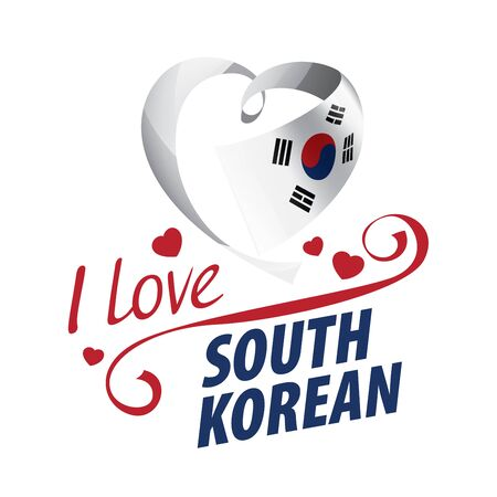 National flag of the South Korean in the shape of a heart and the inscription I love South Korean. Vector illustration