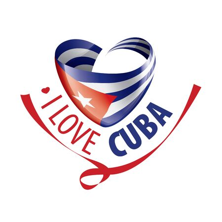 National flag of the Cuba in the shape of a heart and the inscription I love Cuba. Vector illustration.