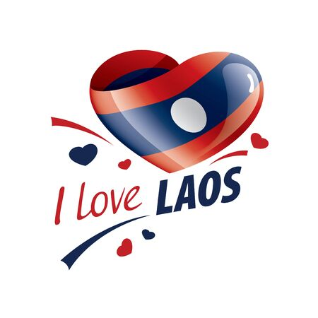 National flag of the Laos in the shape of a heart and the inscription I love Laos. Vector illustration Ilustração