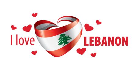 National flag of the Lebanese in the shape of a heart and the inscription I love Lebanese. Vector illustration Illustration
