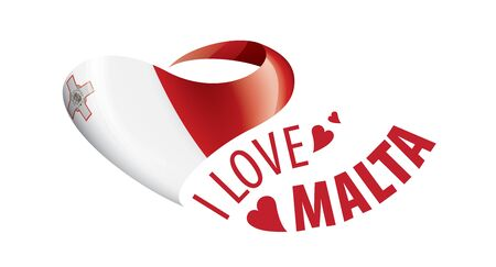 National flag of the Malta in the shape of a heart and the inscription I love Malta. Vector illustration