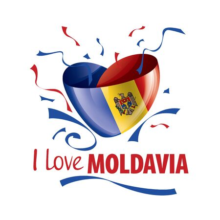 National flag of the Moldova in the shape of a heart and the inscription I love Moldova. Vector illustration.