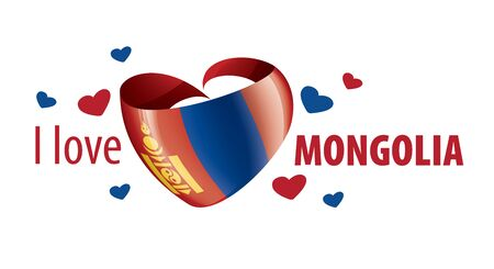 National flag of the Mongolia in the shape of a heart and the inscription I love Mongolia. Vector illustration 矢量图像