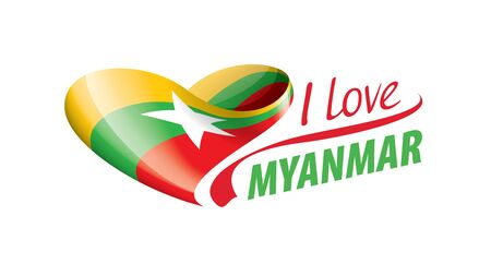 National flag of the Myanmar in the shape of a heart and the inscription I love Myanmar. Vector illustration