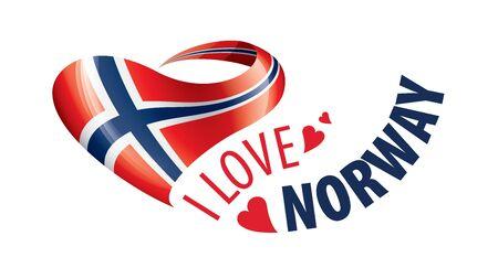Drapeau national de la Norvège en forme de coeur et l'inscription J'aime la Norvège. Illustration vectorielle