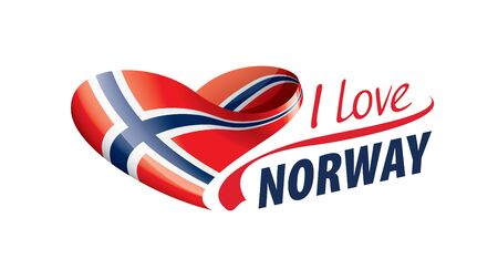 National flag of the Norway in the shape of a heart and the inscription I love Norway. Vector illustration