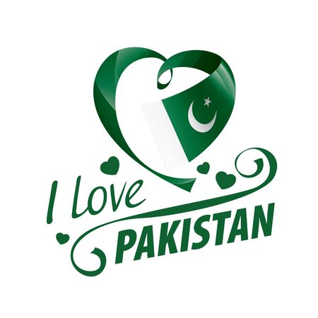 National flag of the Pakistan in the shape of a heart and the inscription I love Pakistan. Vector illustration