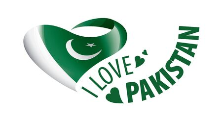 National flag of the Pakistan in the shape of a heart and the inscription I love Pakistan. Vector illustration Banco de Imagens - 139390039