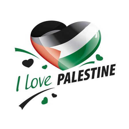 National flag of the Palestine in the shape of a heart and the inscription I love Palestine. Vector illustration