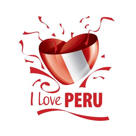 National flag of the Peru in the shape of a heart and the inscription I love Peru. Vector illustration Illusztráció