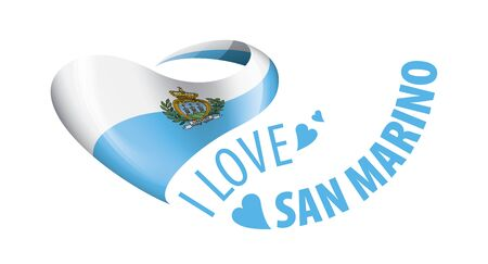National flag of the San Marino in the shape of a heart and the inscription I love Salvador. Vector illustration