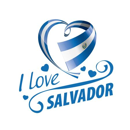 National flag of the Salvador in the shape of a heart and the inscription I love Salvador. Vector illustration Ilustração
